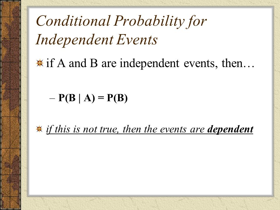 Conditional Probability for Independent Events