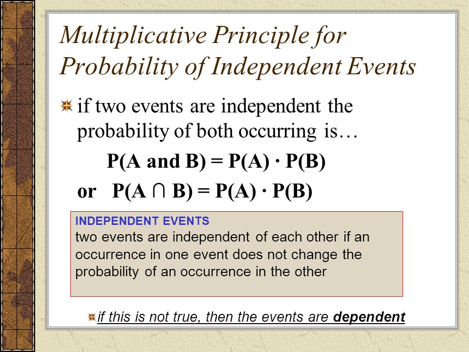 Multiplicative Principle for Probability of Independent Events