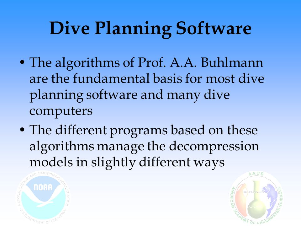 Dive Planning Software