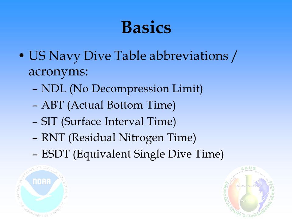 Basics US Navy Dive Table abbreviations / acronyms: