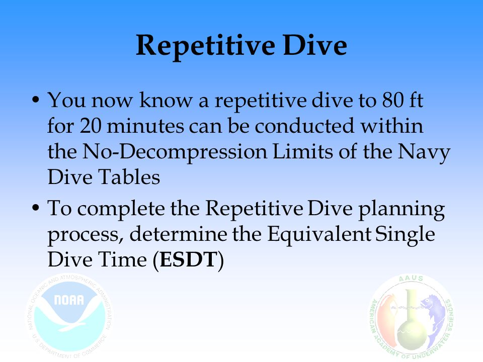 Repetitive Dive You now know a repetitive dive to 80 ft for 20 minutes can be conducted within the No-Decompression Limits of the Navy Dive Tables.