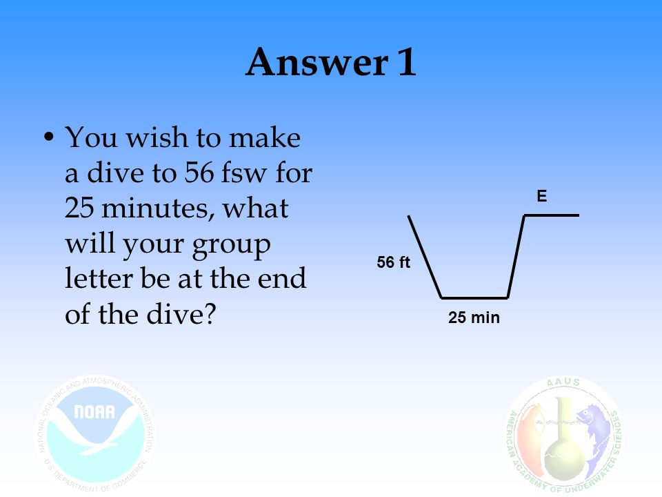 Answer 1 You wish to make a dive to 56 fsw for 25 minutes, what will your group letter be at the end of the dive