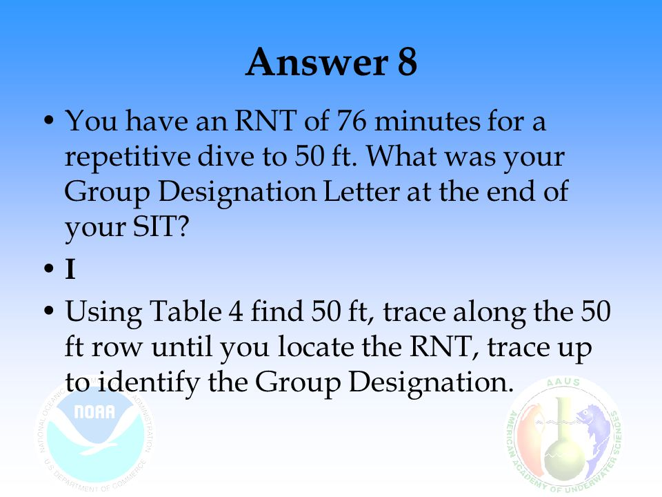 Answer 8 You have an RNT of 76 minutes for a repetitive dive to 50 ft. What was your Group Designation Letter at the end of your SIT