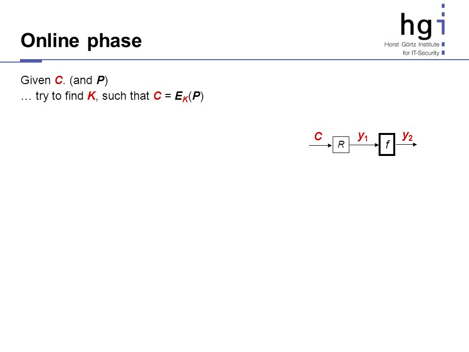 Online phase Given C. (and P) … try to find K, such that C = EK(P) y1