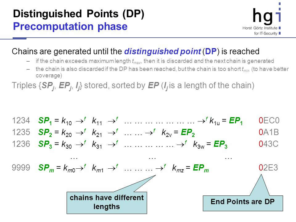 Distinguished Points (DP) Precomputation phase