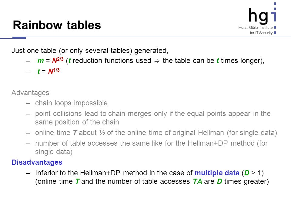 Rainbow tables Just one table (or only several tables) generated,