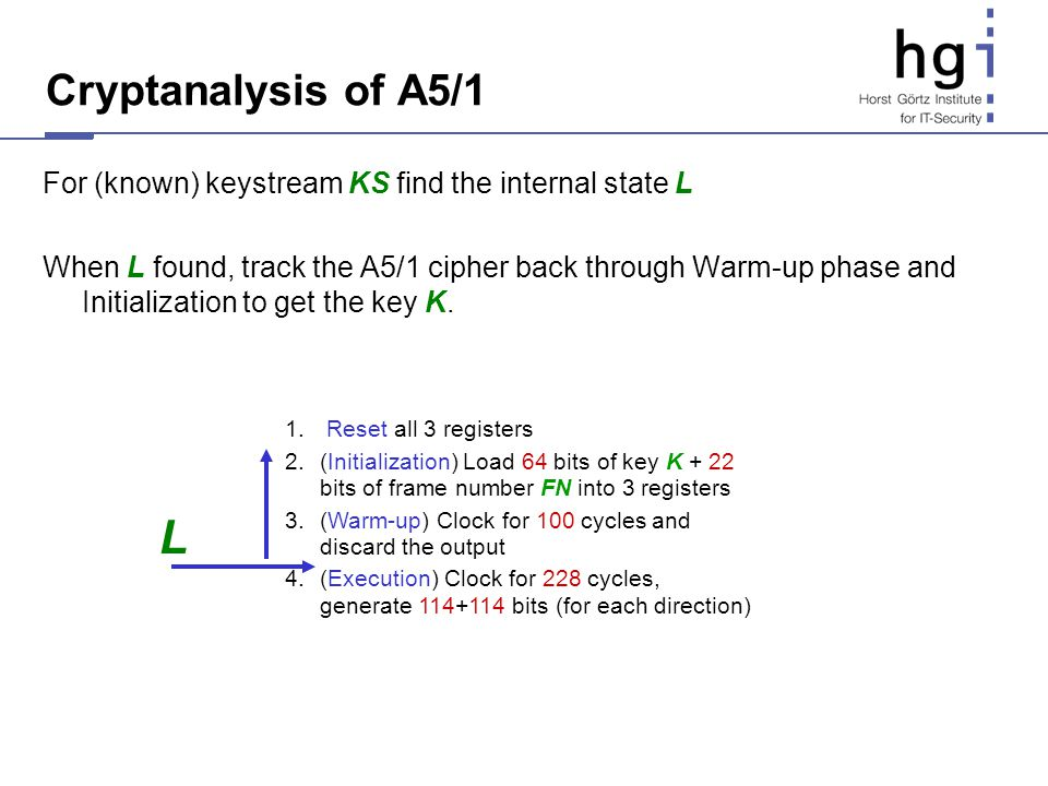 Cryptanalysis of A5/1 For (known) keystream KS find the internal state L.