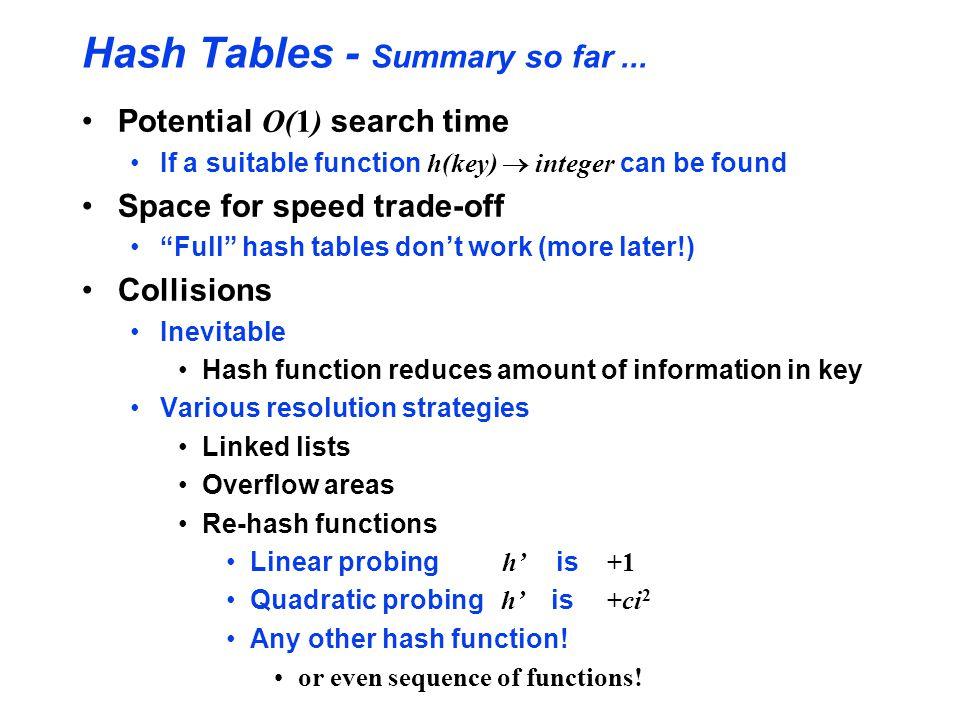 Hash Tables - Summary so far ...