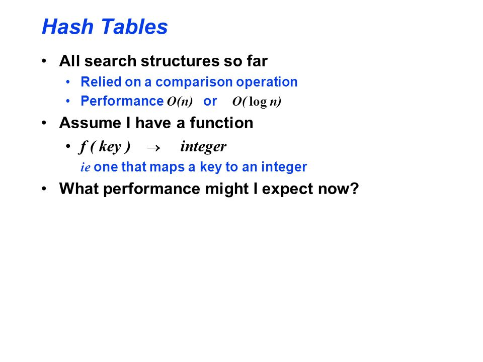 Hash Tables All search structures so far Assume I have a function