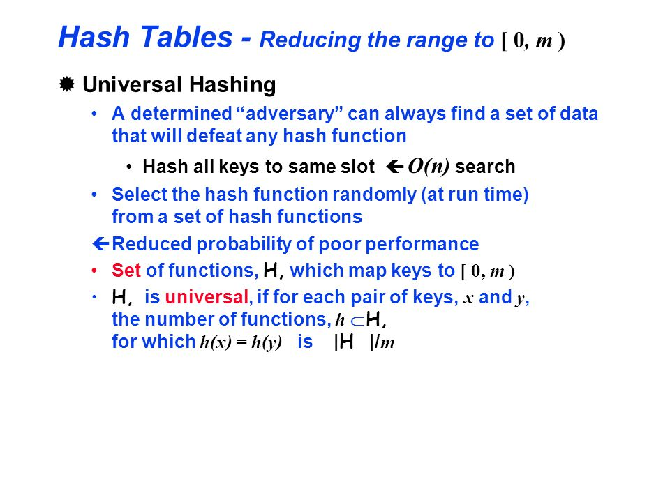 Hash Tables - Reducing the range to [ 0, m )