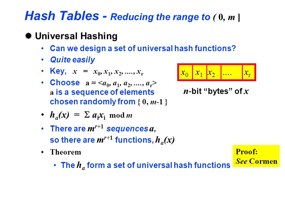 Hash Tables - Reducing the range to ( 0, m ]
