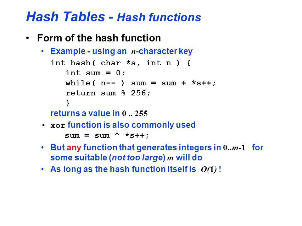 Hash Tables - Hash functions