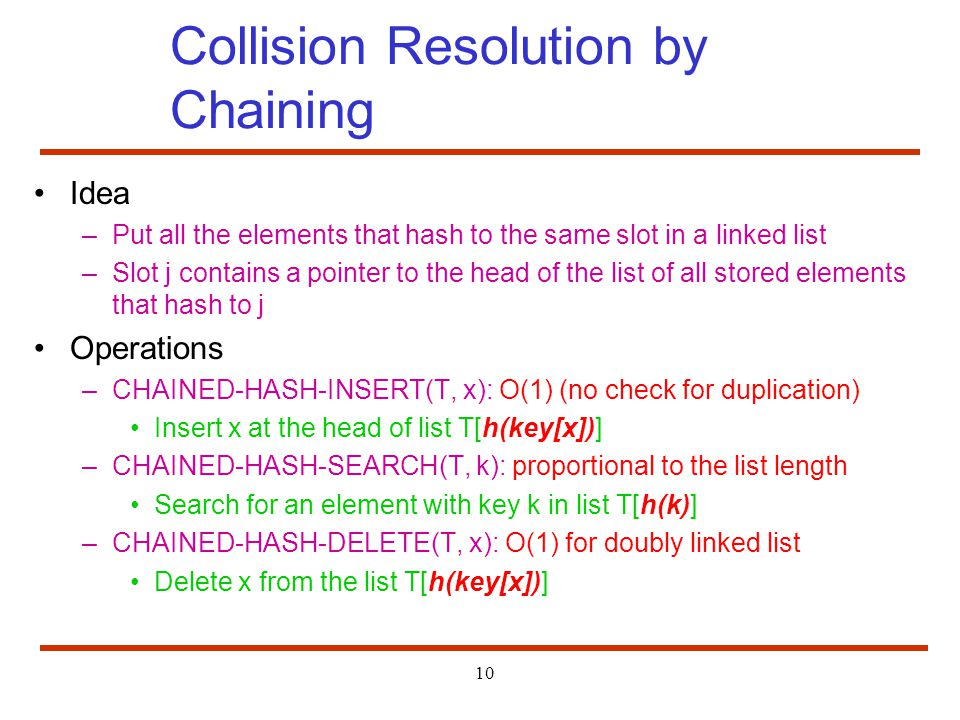 Collision Resolution by Chaining