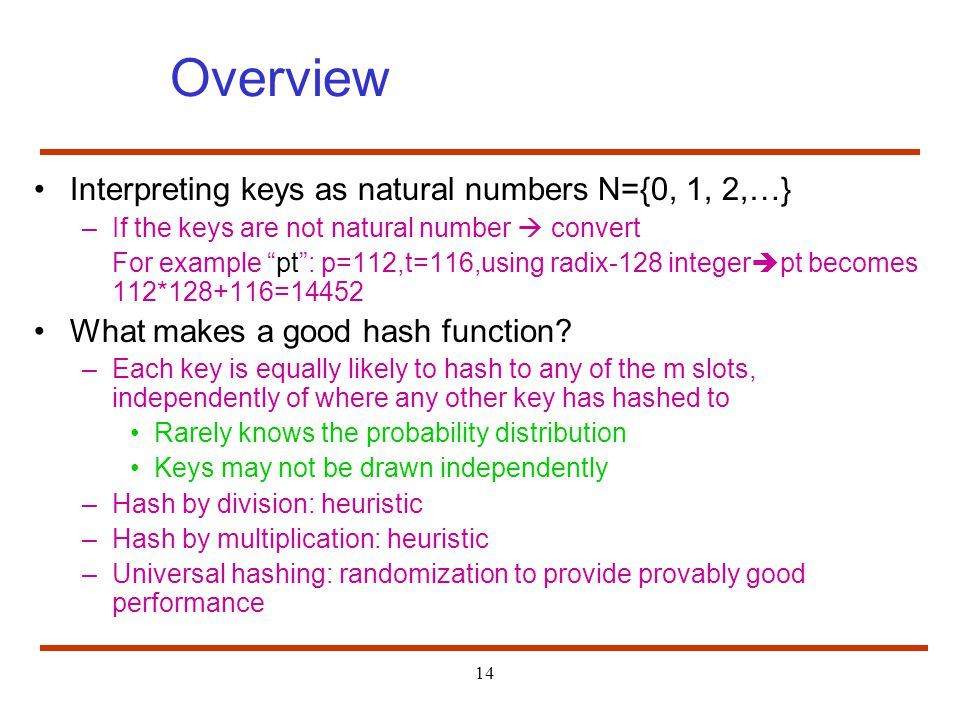 Overview Interpreting keys as natural numbers N={0, 1, 2,…}
