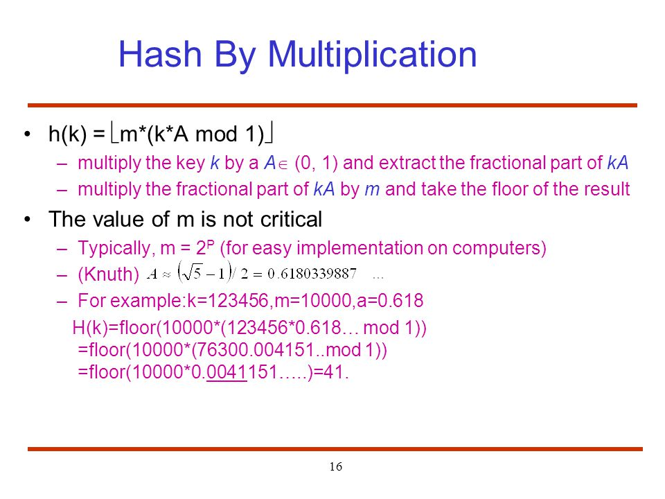 Hash By Multiplication