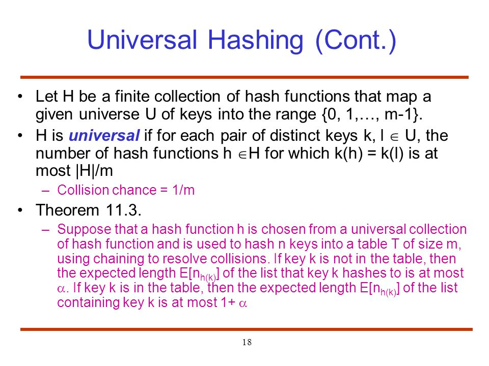 Universal Hashing (Cont.)