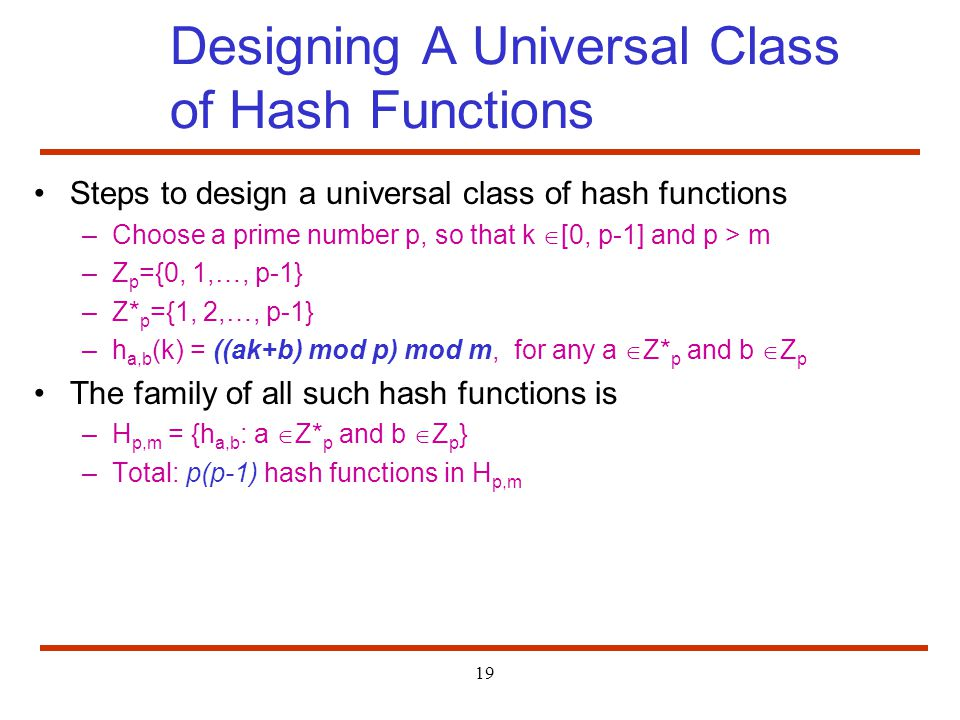 Designing A Universal Class of Hash Functions