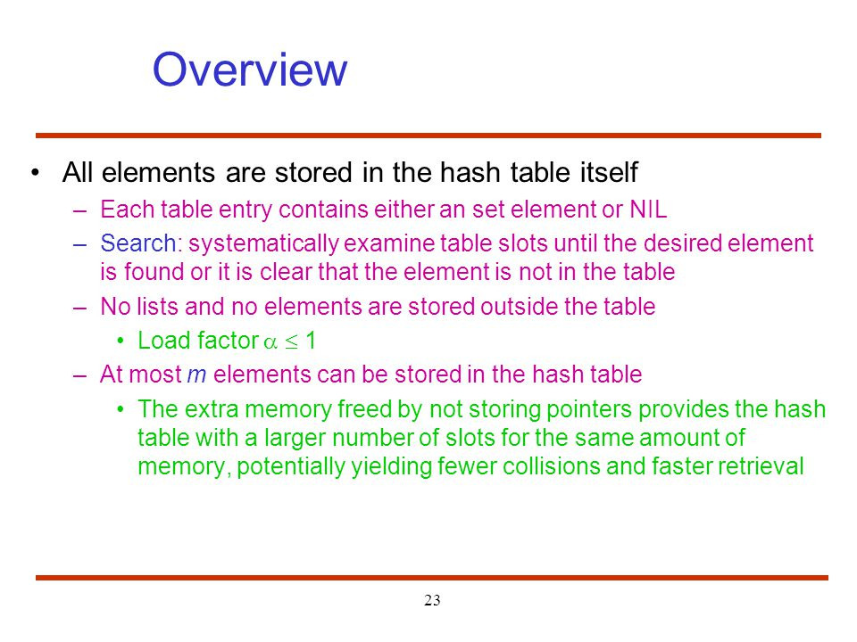 Overview All elements are stored in the hash table itself