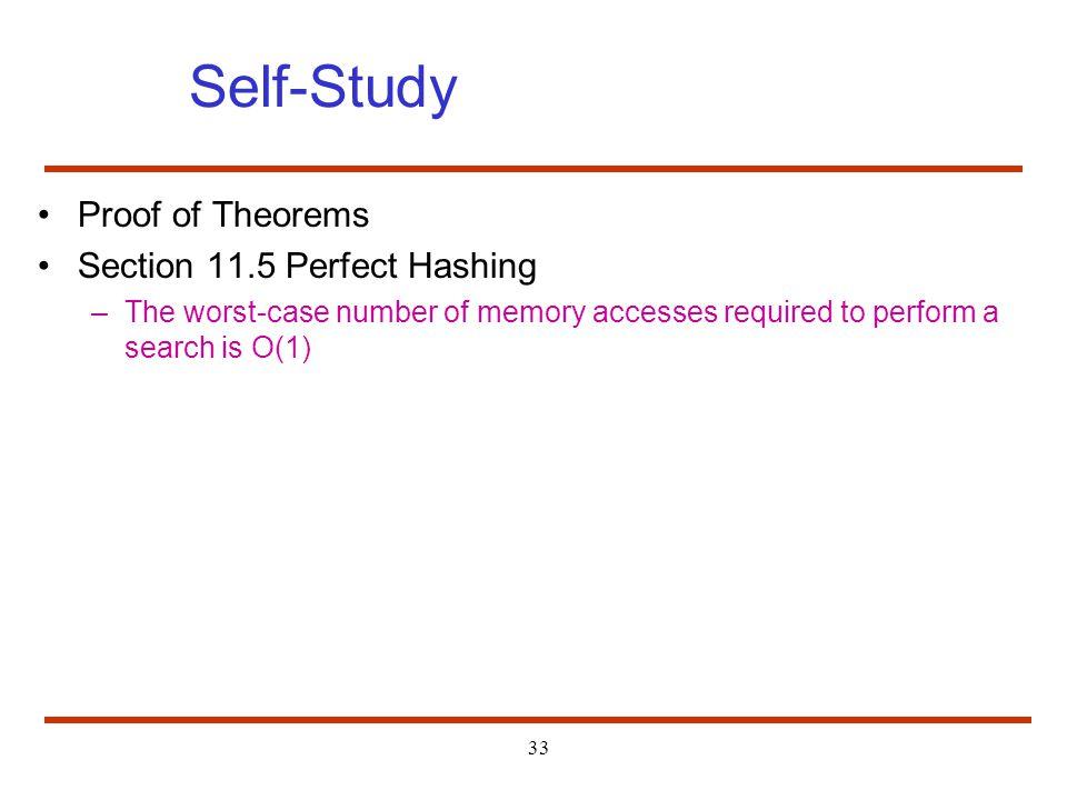 Self-Study Proof of Theorems Section 11.5 Perfect Hashing