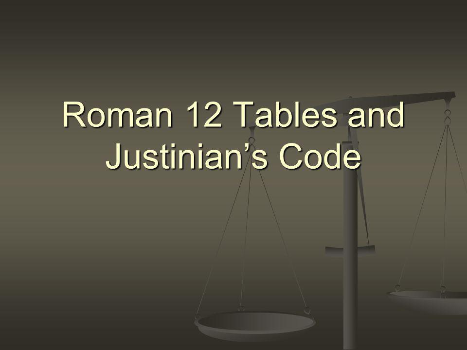 Roman 12 Tables and Justinian's Code