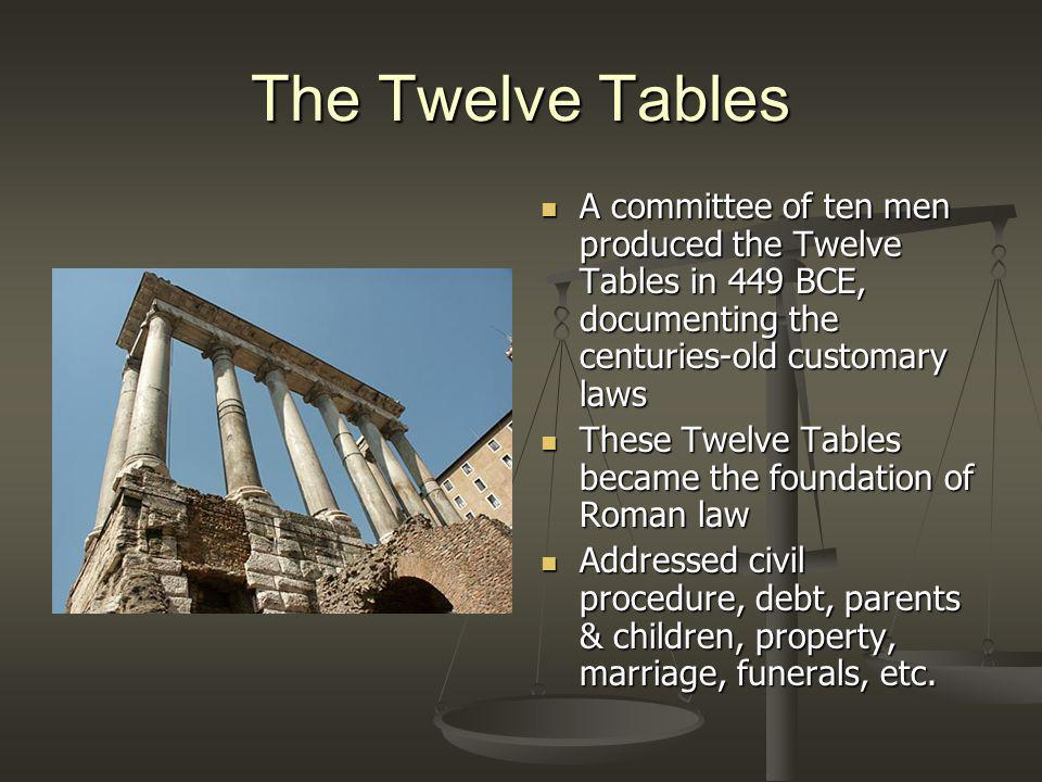 The Twelve Tables A committee of ten men produced the Twelve Tables in 449 BCE, documenting the centuries-old customary laws.