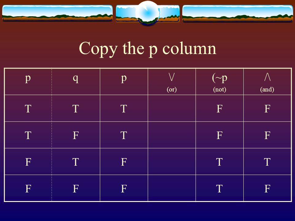 Copy the p column p q \/ (or) (~p (not) /\ (and) T F