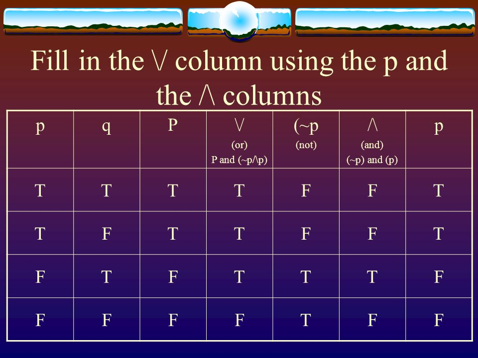 Fill in the \/ column using the p and the /\ columns