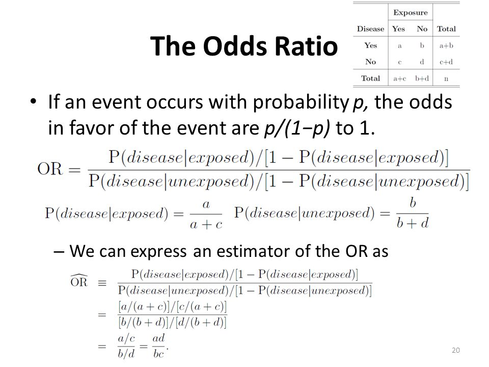The Odds Ratio If an event occurs with probability p, the odds in favor of the event are p/(1−p) to 1.