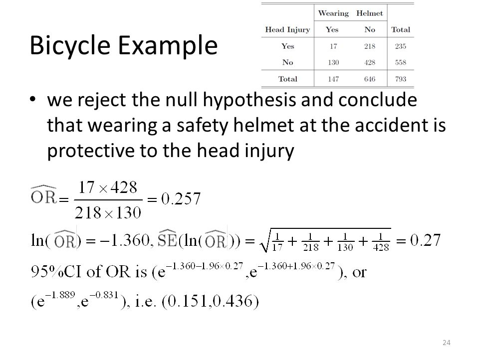 Bicycle Example we reject the null hypothesis and conclude that wearing a safety helmet at the accident is protective to the head injury.