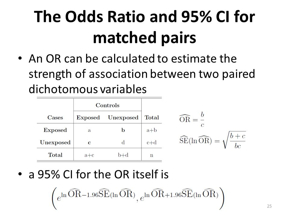 The Odds Ratio and 95% CI for matched pairs