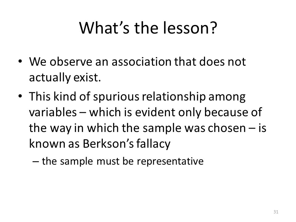 What's the lesson We observe an association that does not actually exist.