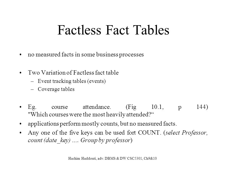 Factless Fact Tables no measured facts in some business processes