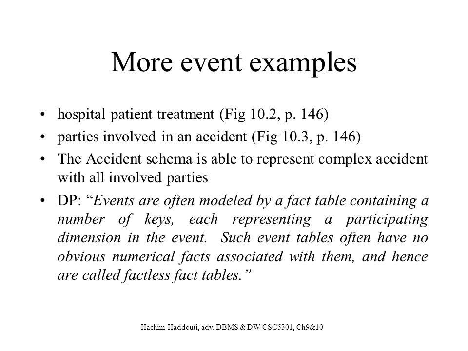 More event examples hospital patient treatment (Fig 10.2, p. 146)