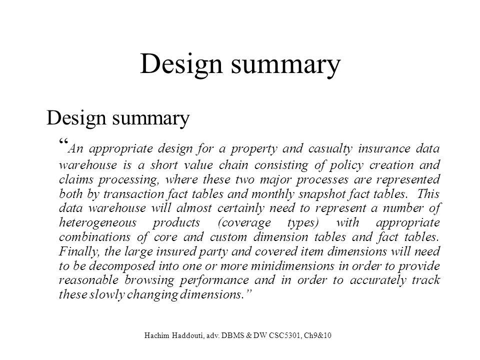 Design summary Design summary