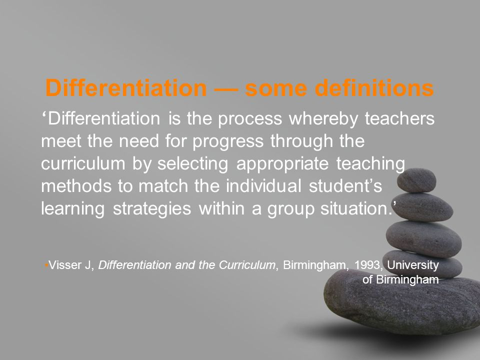 Differentiation — some definitions