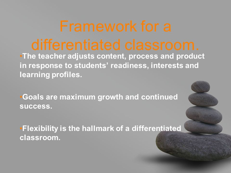 Framework for a differentiated classroom.