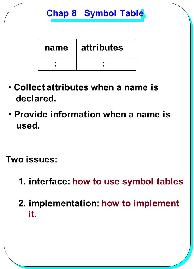 Chap 8 Symbol Table name attributes. : : Collect attributes when a name is.
