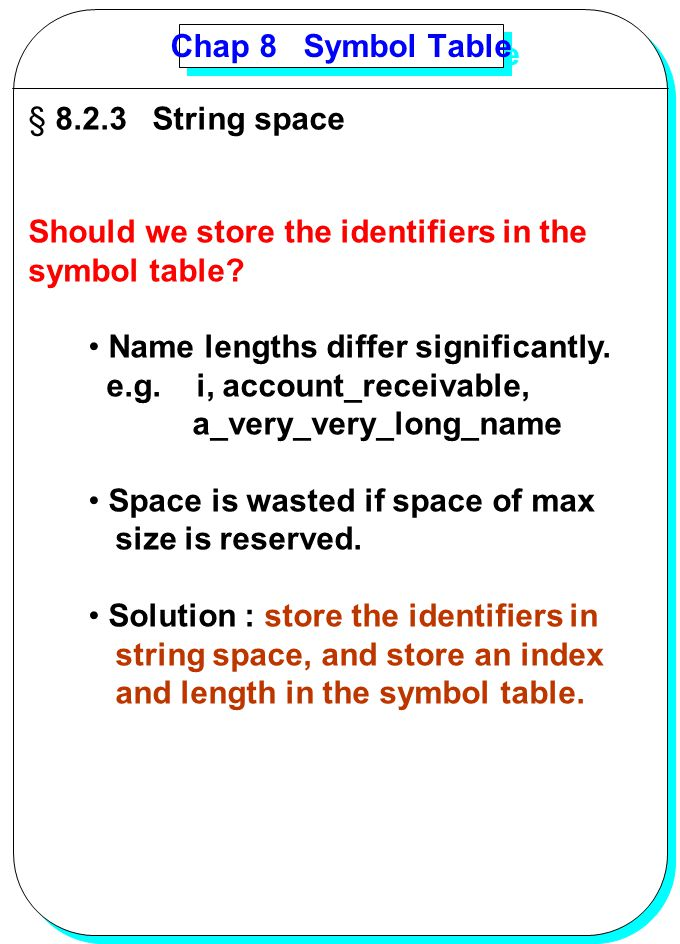 Chap 8 Symbol Table 8.2.3 String space. Should we store the identifiers in the. symbol table