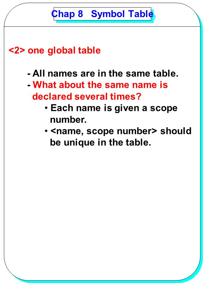 Chap 8 Symbol Table <2> one global table. - All names are in the same table. - What about the same name is.