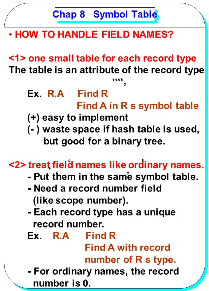 Chap 8 Symbol Table HOW TO HANDLE FIELD NAMES <1> one small table for each record type. The table is an attribute of the record type.