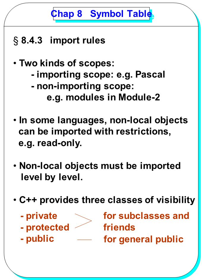 Chap 8 Symbol Table 8.4.3 import rules. Two kinds of scopes: - importing scope: e.g. Pascal. - non-importing scope: