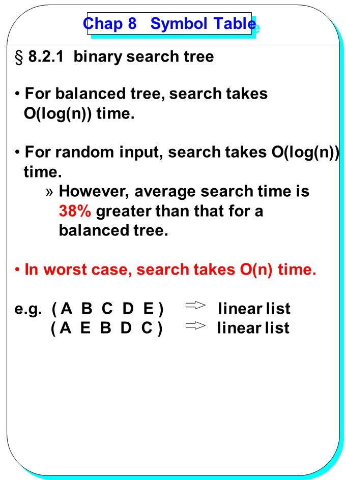 Chap 8 Symbol Table 8.2.1 binary search tree. For balanced tree, search takes. O(log(n)) time.