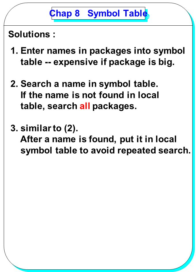 Chap 8 Symbol Table Solutions : 1. Enter names in packages into symbol. table -- expensive if package is big.