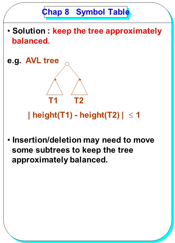 Chap 8 Symbol Table Solution : keep the tree approximately. balanced. e.g. AVL tree. T1 T2.