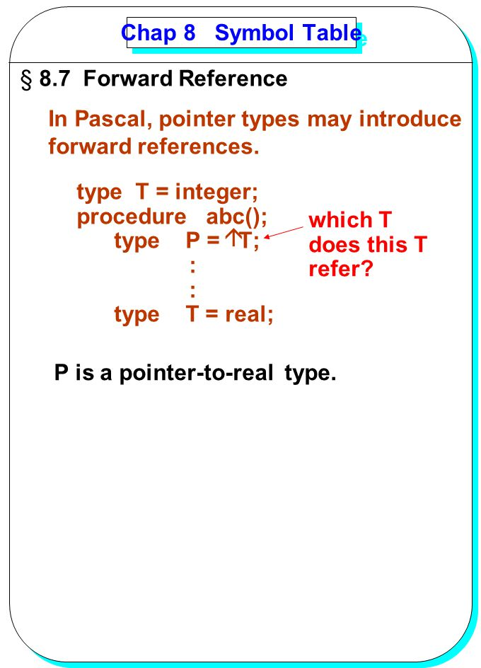 Chap 8 Symbol Table 8.7 Forward Reference. In Pascal, pointer types may introduce. forward references.