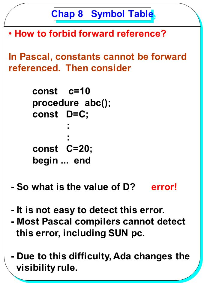 Chap 8 Symbol Table How to forbid forward reference In Pascal, constants cannot be forward. referenced. Then consider.