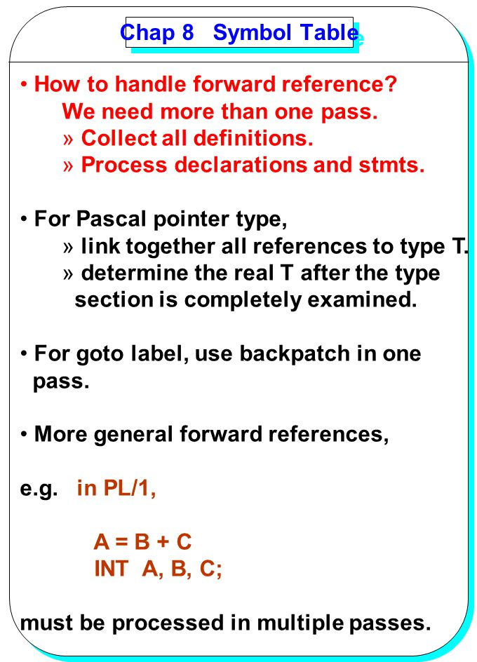 Chap 8 Symbol Table How to handle forward reference We need more than one pass. Collect all definitions.