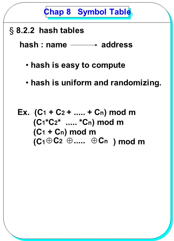 Chap 8 Symbol Table 8.2.2 hash tables. hash : name. address. hash is easy to compute. hash is uniform and randomizing.