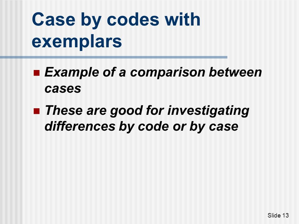 Case by codes with exemplars