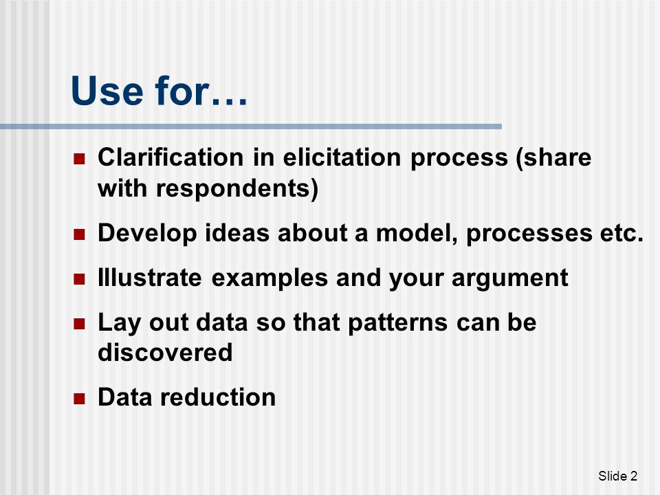Use for… Clarification in elicitation process (share with respondents)
